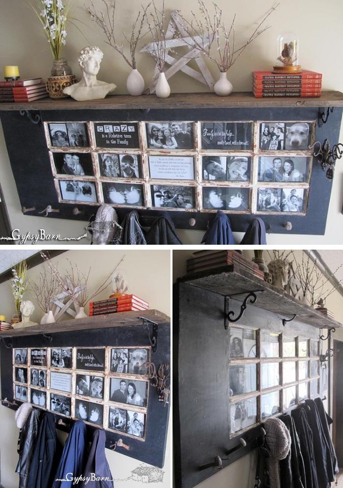 Old French Door Repurposed as DIY Coat Rack