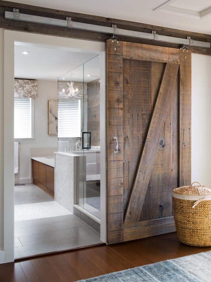 rustic siding barn door for bathroom