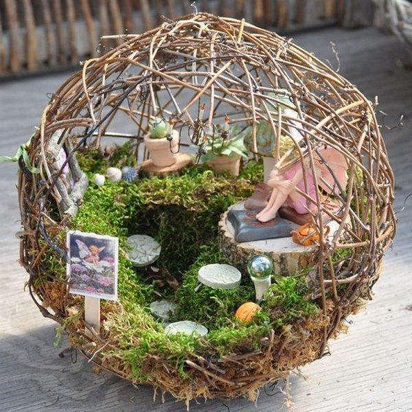 Fairy Garden Inside A Small Grapevine Sphere