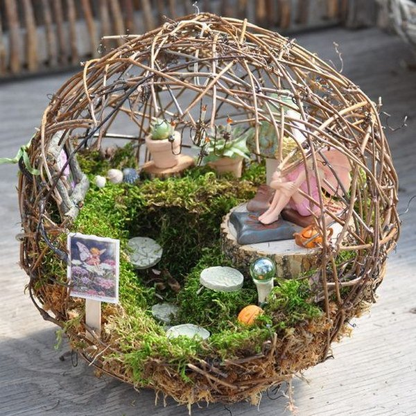 Fairy Garden Inside A Small Grapevine Sphere