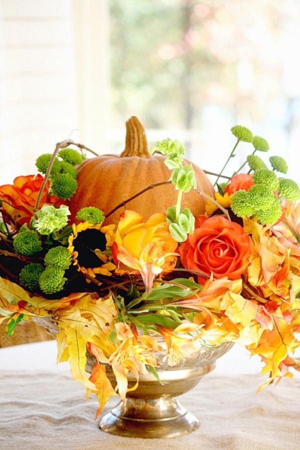 Easy Fall Arrangement Using Faux Pumpkins