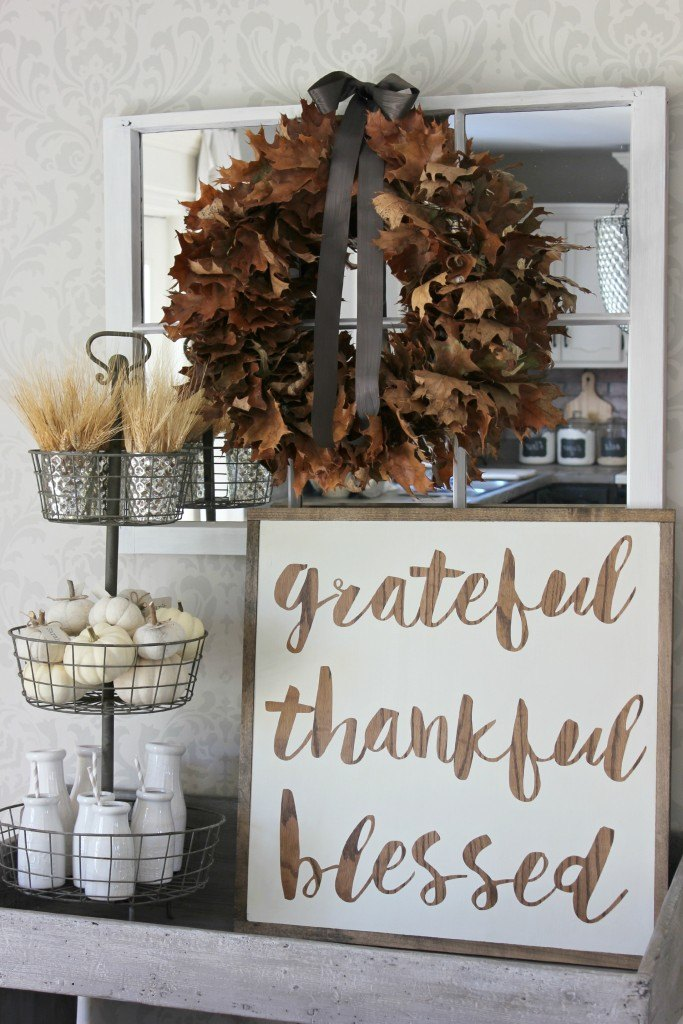Grateful Thankful Blessed Vignette Sign
