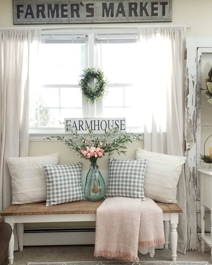 Farmhouse Spring Decor: 20 Beautiful Ways to Welcome ... on Farmhouse Living Room Curtain Ideas  id=80936
