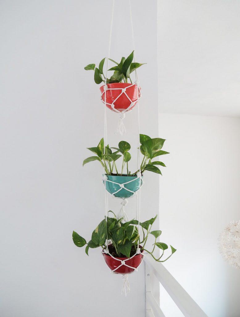 Plant Hanger with Ceramic Bowls