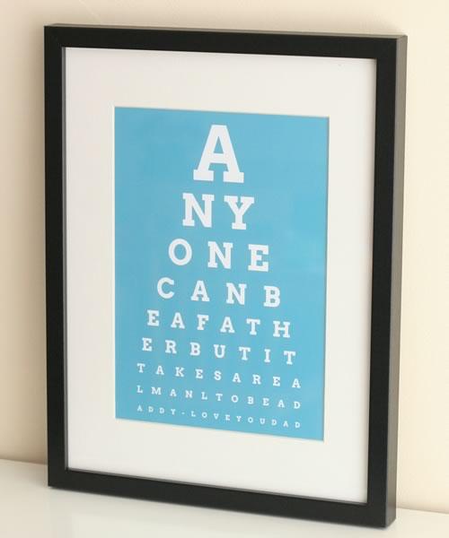 Personalized Fathers Day Gift Eye Chart Art