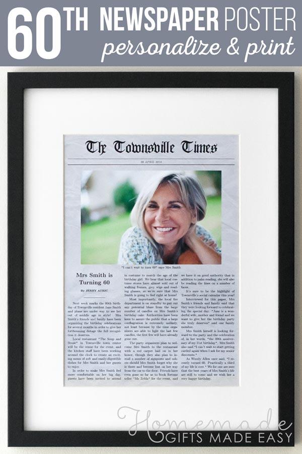 60th Birthday Newspaper Gag Gift