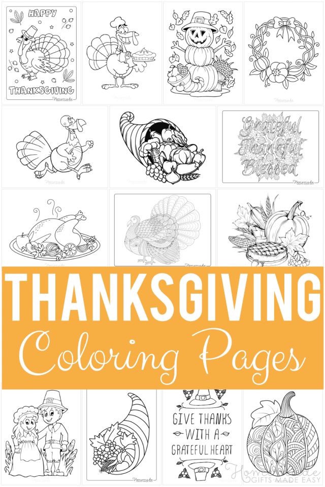 9 Thanksgiving Coloring Pages for Kids & Adults - FREE Printables