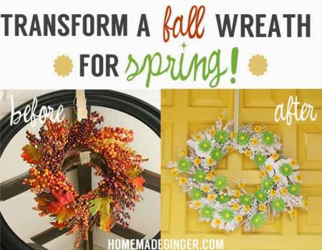 Transform an out of season wreath and turn into the perfect spring wreath with just a few supplies!