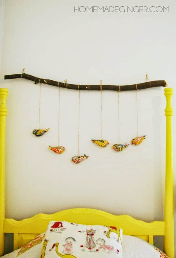 turn a baby mobile into a big kid wall hanging