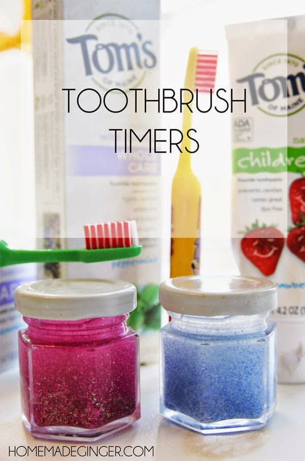Create these toothbrush timers with glitter, glue and water.