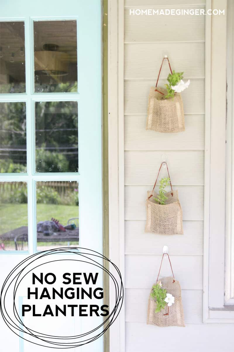 No sew burlap hanging planters. Such a quick and easy way to spruce up an outdoor space!
