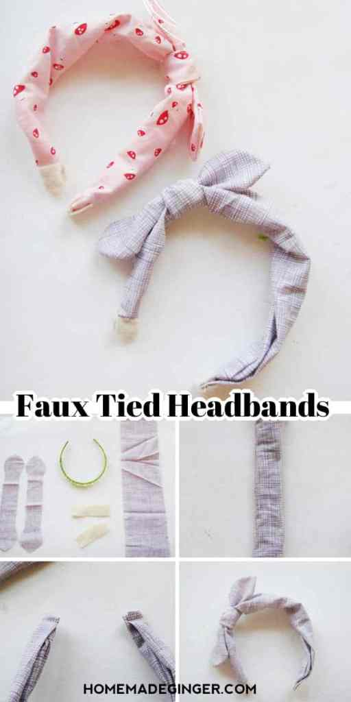 DIY Faux tied headbands. So easy to make and cute for both kids and adults!