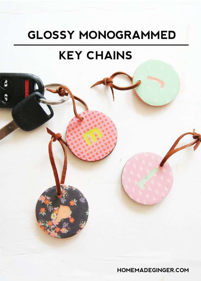 DIY glossy monogrammed key chains using dimensional Mod Podge!