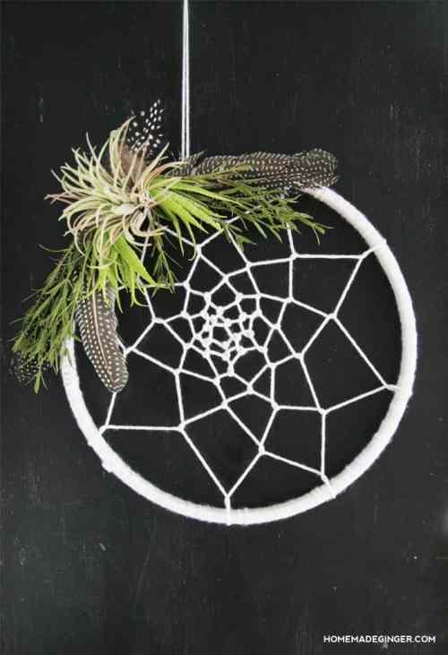 Wreath Decor Contemporary Doorway Laurel Garland Dreamcatcher Yarn Feathers Modern Wreaths