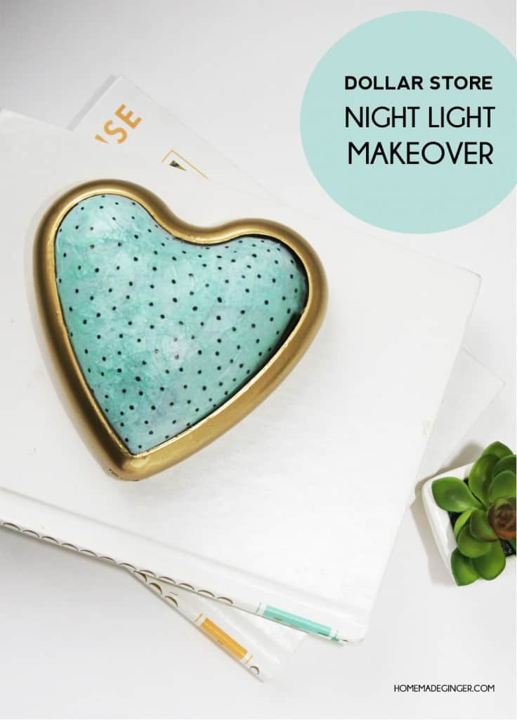 Make a DIY night light out of a push light from the dollar store, some tissue paper and spray paint. These would be perfect for a nursery or kids' room decor!