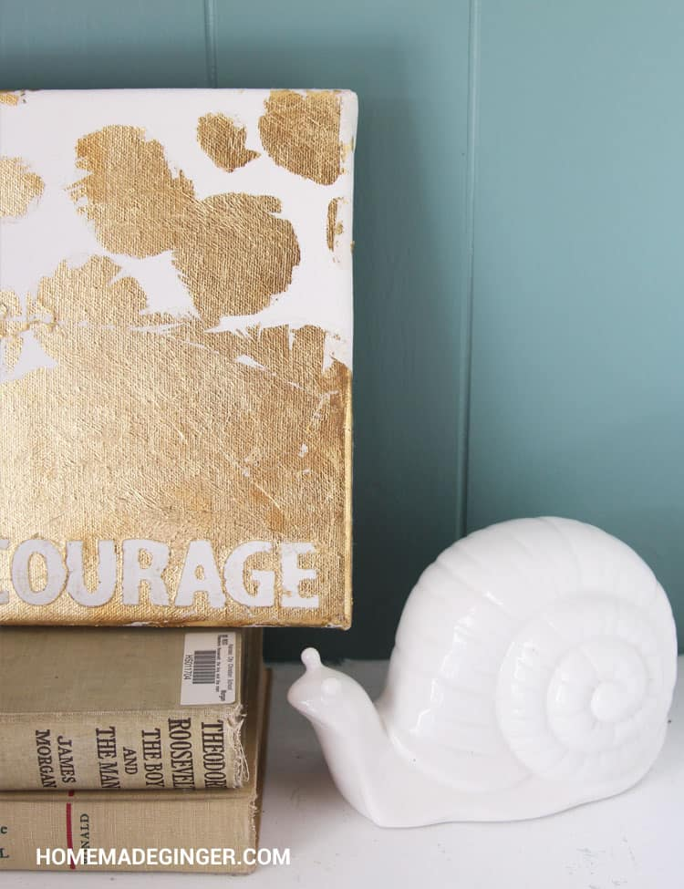 This DIY gold leaf canvas craft is easy to make. Create a custom word or quote to create a beautiful DIY gold leaf home decor piece!