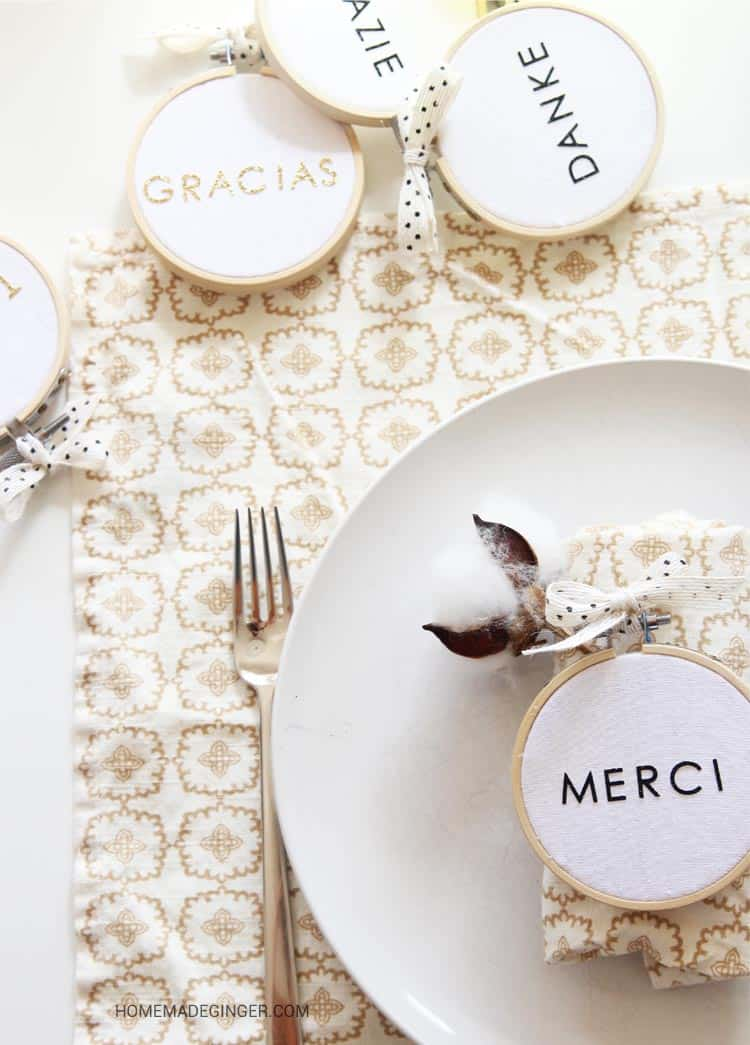 """Create a Thanksgiving place setting with embroidery hoops and stickers. Spell out """"thank you"""" in different languages for this modern Thanksgiving craft!"""
