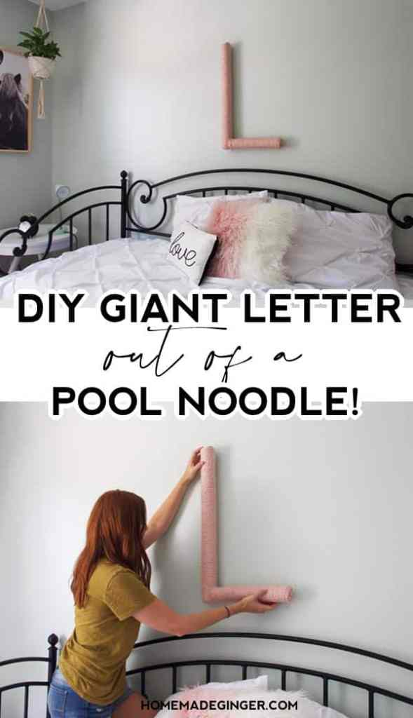 Make letters out of pool noodles for an inexpensive way to decorate a kid's room. This DIY pool noodle decor project is so easy!