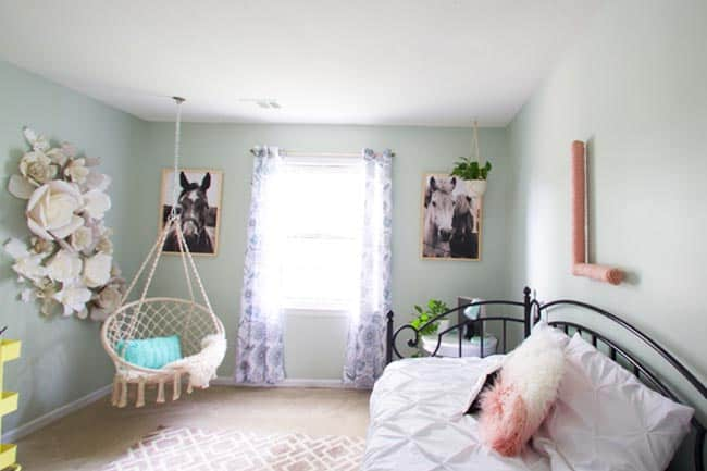You can create a tween girl room on a crazy low budget. Most of the elements in this room were DIY projects or thrifted!