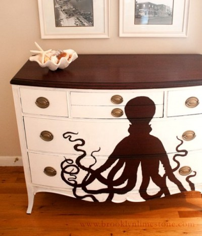 Dresser White Chest of Drawers Painted Octopus DIY Wall Art Seashell Decor