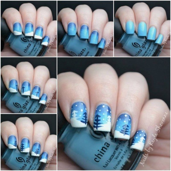 Blue Winter Wonderland Simple And Striking These Nails Would Be Easy To Do With A Small Paintbrush Or Even Just Toothpick