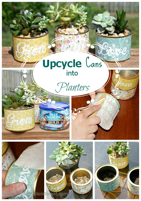 upcycle cans in to planters