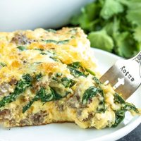 Sausage and Spinach Crustless Quiche {Low Carb & Keto}