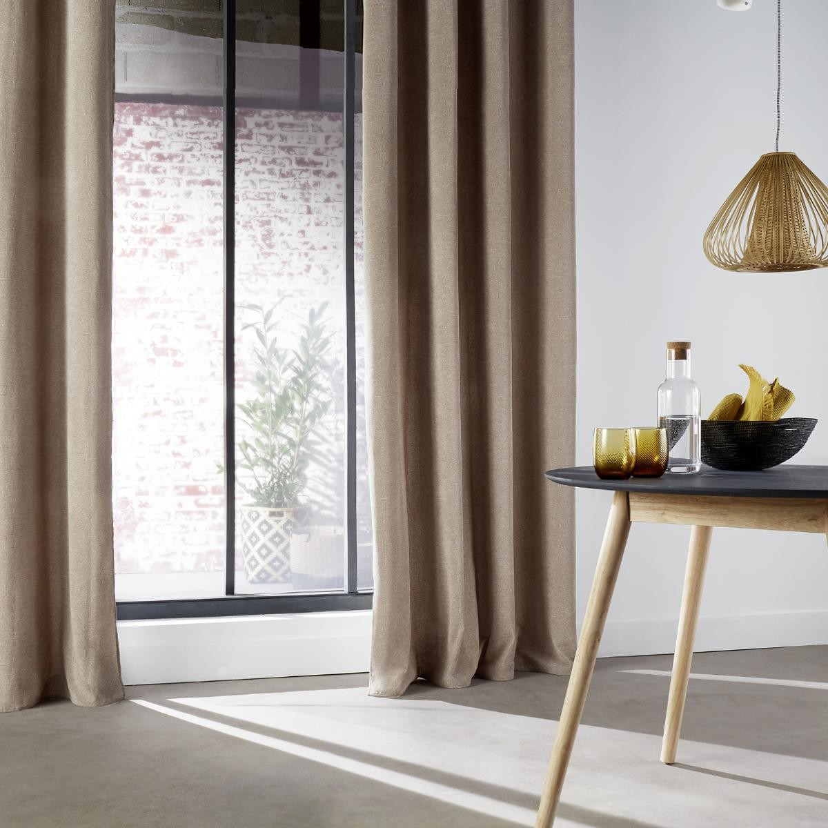 Rideau D Ameublement Effet Tweed Taupe