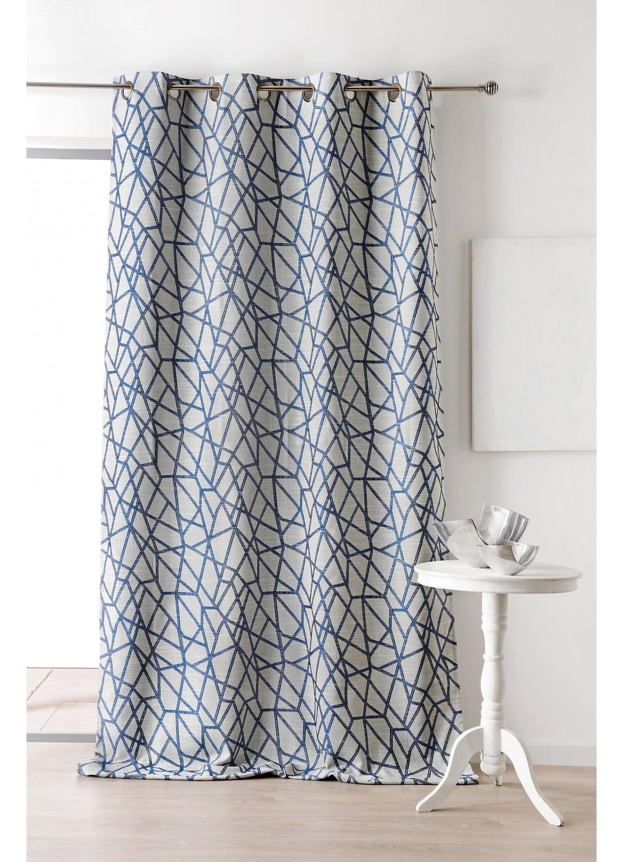 Rideau En Jacquard Avec Imprimes Geometriques Bleu Et