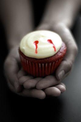 Red Velvet Vampire Bite Cupcakes
