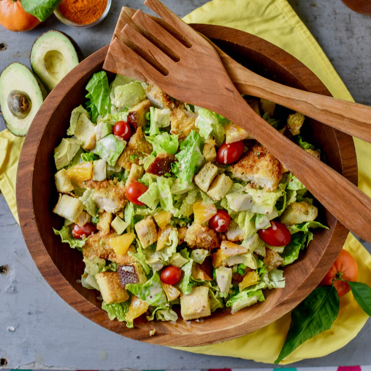 Citrus Chicken Salad with Spicy Honey Mustard and Pretzel Croutons Recipe