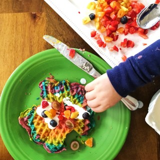 Making Rainbow Waffles and a Technicolor Mess