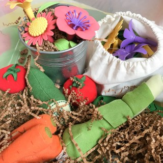Easy Kid's Activity: Crinkle Paper Garden Sensory Bin