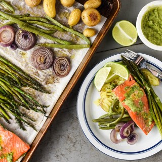Sheet Pan Salmon Dinner with Cilantro Lime Butter Sauce