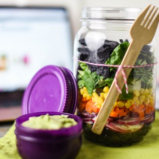 Southwest Rainbow Jar Salad with Avocado Dressing