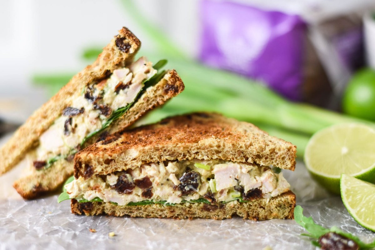 Curried Yogurt Chicken Salad on Honey Wheat Raisin Toast