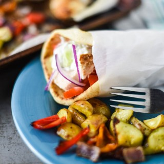 Easy Sheet Pan Chicken Gyros and Veggies from my FREE Digital Cookbook