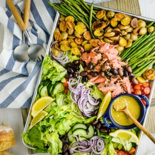 This easy Sheet Pan Salmon Nicoise combines the elegance of a classic nicoise salad with the ease of a sheet pan meal featuring delicious roasted salmon.