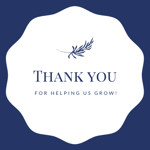 It's just a graphic of Satisfactory Thank You for Helping Us Grow Printable