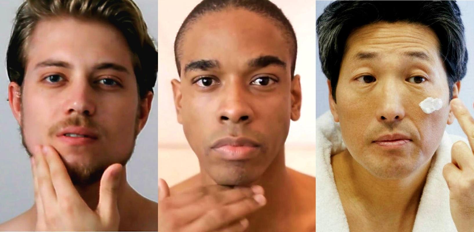 Homem No Espelho - Cuidados com a pele masculina - branca - negra - oriental