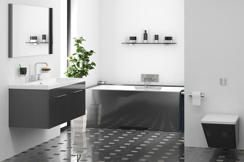 gray tile bathroom what color walls