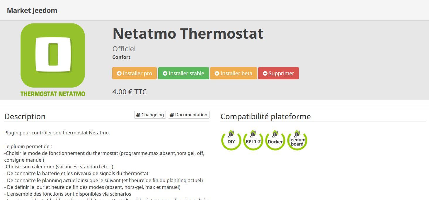 Etape 1 - Installation plugin Netatmo