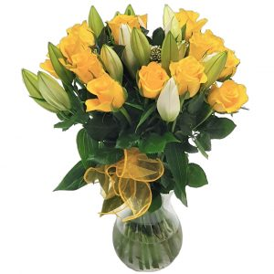 yellow Rose & Lily Vase