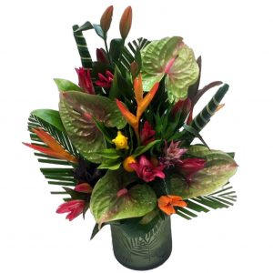 Tropical Vase Arrangement - A Beautiful, Large Vase Full of a Selection of Tropical Flowers.