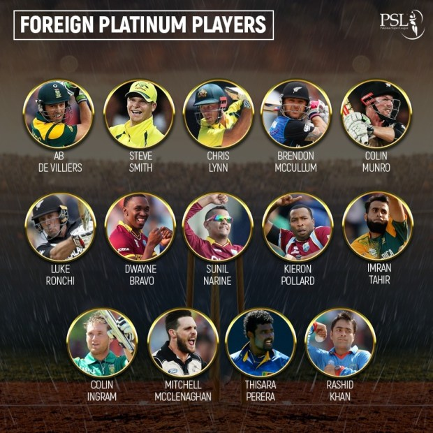 PSL Platinum Category of Foreign Players.