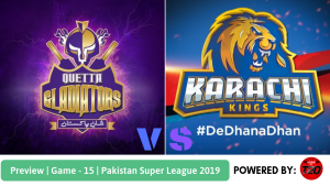 Pakistan Super League 2019 Match 15 Quetta Gladiators vs Karachi Kings