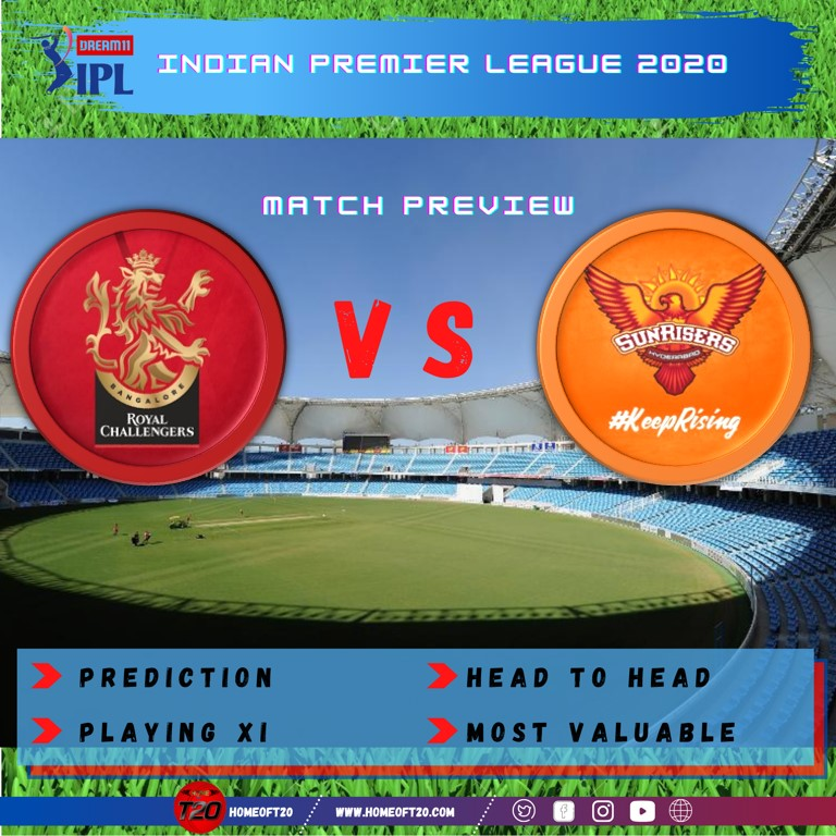 IPL 2020 Match 3 Sunrisers Hyderabad vs Royal Challengers Bangalore