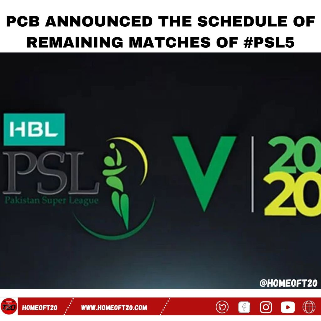PCB announced the schedule of remaining matches of #PSL5