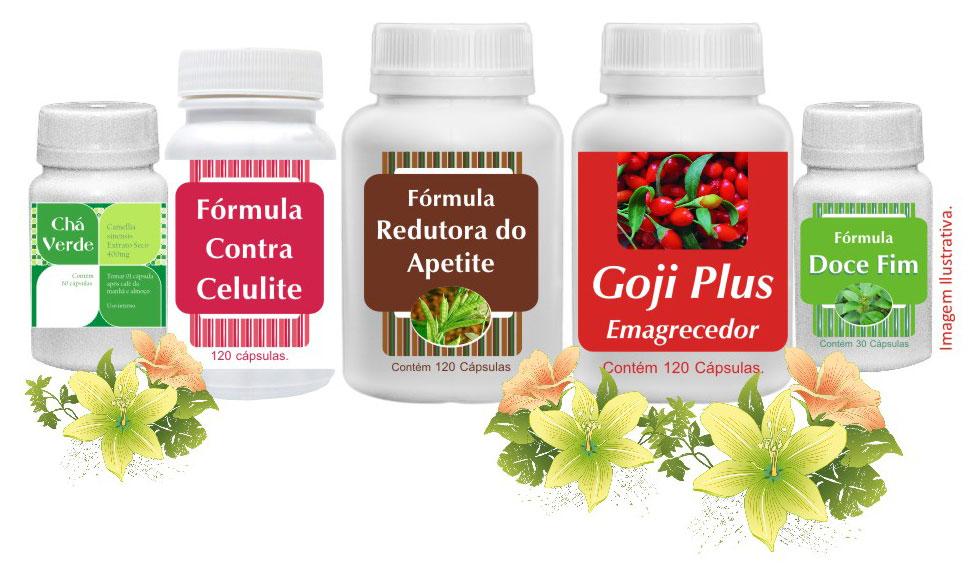 Chá Verde, Fórm. contra celulite, Fórm. Redutora de Apetite, Goji Plus, Doce Fim