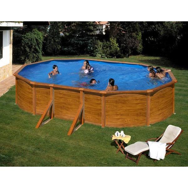 kit piscine hors sol acier ovale pacific aspect bois avec renforts apparents